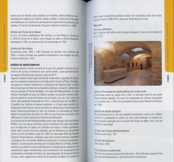 Guide en espagnol Via de la Plata des Editions Everest, de Joaquim Alonso, Miguel Pérez, exemple de présentation d'une étape (quatrième  double page).