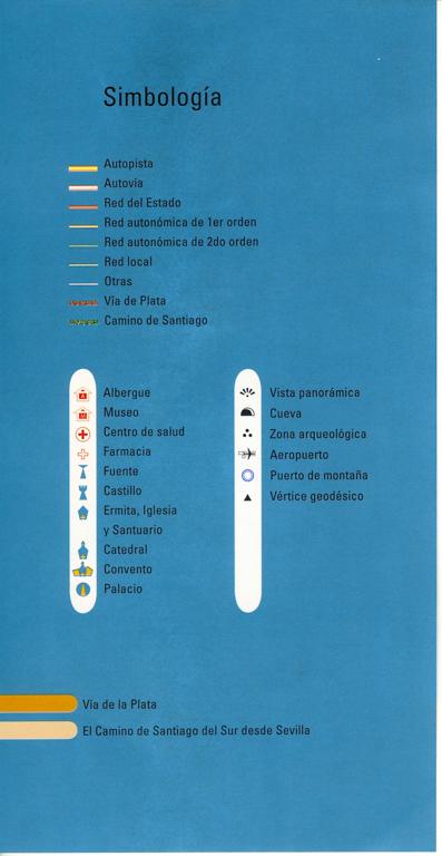 Fiches en espagnol Via de la Plata des Editions Everest, de Joaquim Alonso, Miguel Pérez, description des symboles.