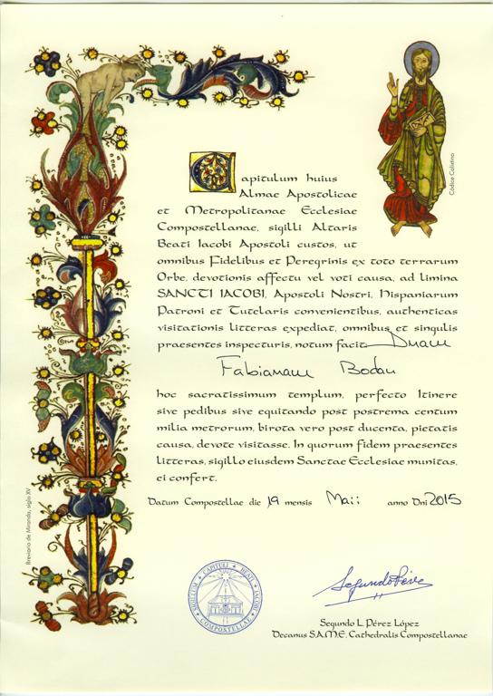 Compostela 2015, remise par le bureau des pèlerins de Santiago de Compostela.