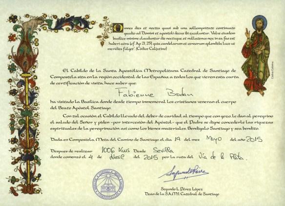 Certificat de distance Compostelle