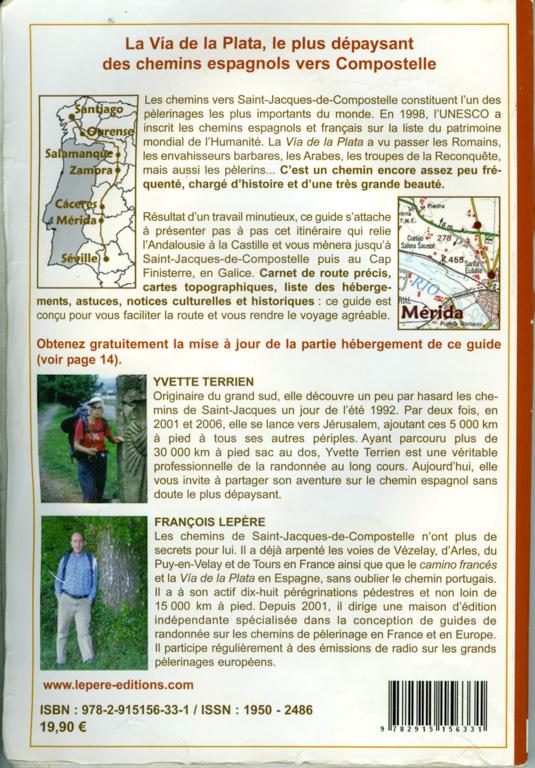 """Quatrième de couverture du Guide Lepère """"Sur le chemin de Saint Jacques de Compostelle, La Via de la Plata et le camino sanabrés"""", Edition ? (1)"""