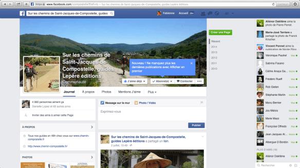 """Groupe de pèlerins francophones sur Facebook : """"Sur les chemins de Compostelle"""""""