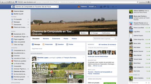 """Groupe de pèlerins francophones Facebook : """"Chemins de Compostelle en Touraine Voie de Tours"""""""