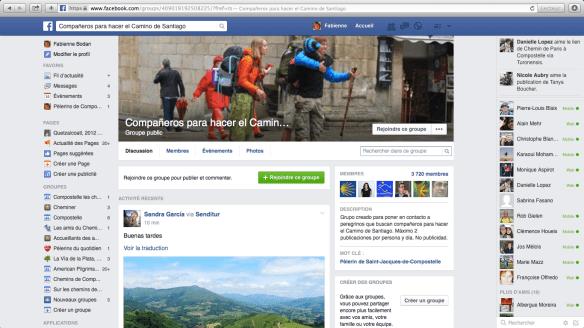 """Groupe de pèlerins hispanophones sur Facebook : """"Compañeros para hacer el Camino de Santiago"""""""