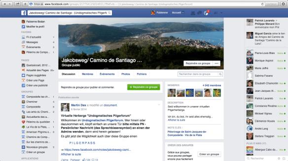 """Groupe de pèlerins germanophones sur Facebook :  """"Jakobsweg/ Camino de Santiago (Undogmatisches Pilgerforum)"""""""