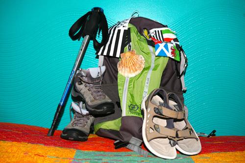Le sac à dos de mon premier chemin, du Puy en Velay à Saint Jacques de Compostelle en 2012. © Fabienne Bodan