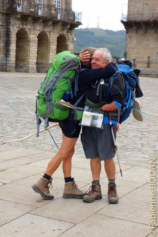 Nous venons d'arriver sur la place de L'Obradoiro, l'émotion nous submerge. © Fabienne Bodan