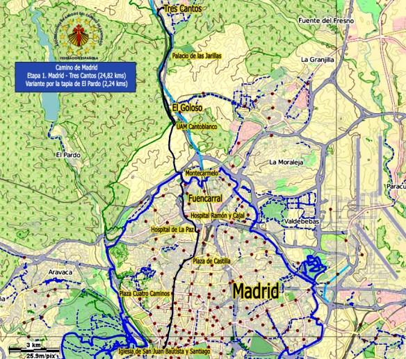 Exemple de fiche-étape sur le chemin de Madrid © Site internet de la Fédération des Associations des Amis du Chemin de Santiago