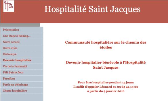 Capture d'écran du site de l'Hospitalité Saint Jacques