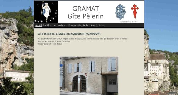 Capture d'écran du site du gîte de Gramat (46)