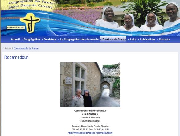 Capture d'écran de la page sur la communauté de Rocamadour du site des congrégations Notre-Dame du Calvaire