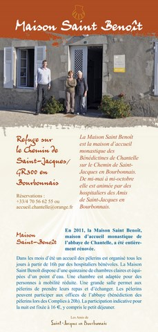 Le flyer de l'association « les Amis de Saint Jacques en Bourbonnais »