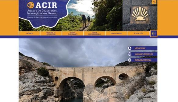 Capture d'écran du site internet de l'ACIR (Agence de Coopération Interrégionale et Réseau «Chemins de Compostelle»)
