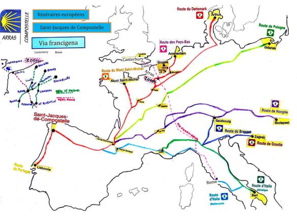 Carte des chemins traversant le Pas-de-Calais. Source : site internet de l'association Arras-Compostelle