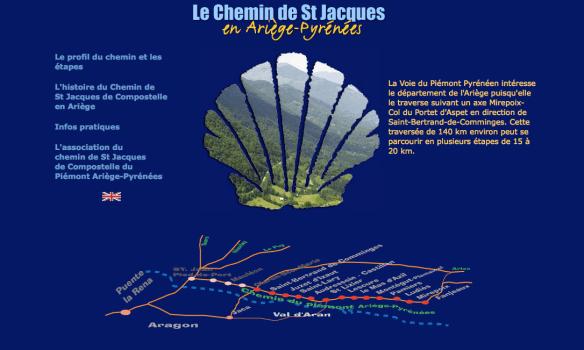 Capture d'écran du site internet de l'association Le chemin de Saint Jacques de Compostelle du Piémont en Ariège-Pyrénées
