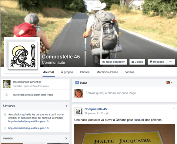 Capture d'écran de la page Facebook de l'association Capture d'écran du site internet de l'association des amis de Saint-Jacques dans le Loiret