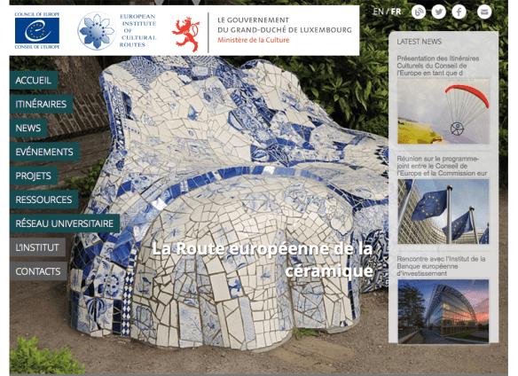 Capture d'écran du site Internet de l'Institut européen des itinéraires culturels