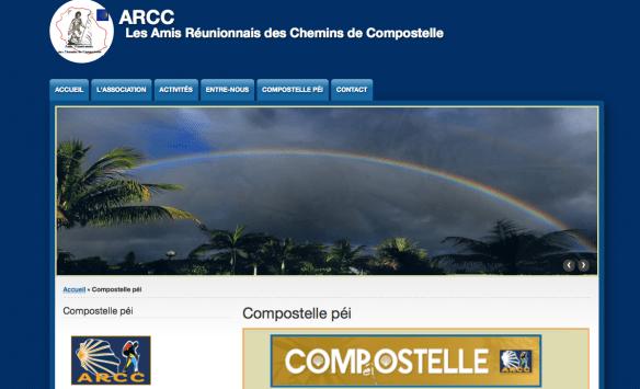Capture d'écran du site de l'association des Amis réunionnais des chemins de Compostelle-ARCC