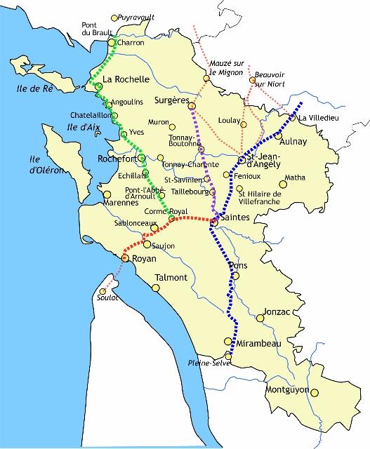 Carte des chemins traversant la Charente-Maritime