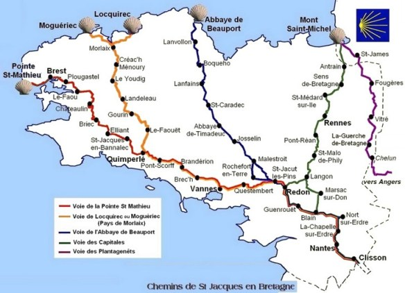 Carte des chemins bretons. Source : site internet de l'association bretonne des Amis de Saint-Jacques de Colmpostelle