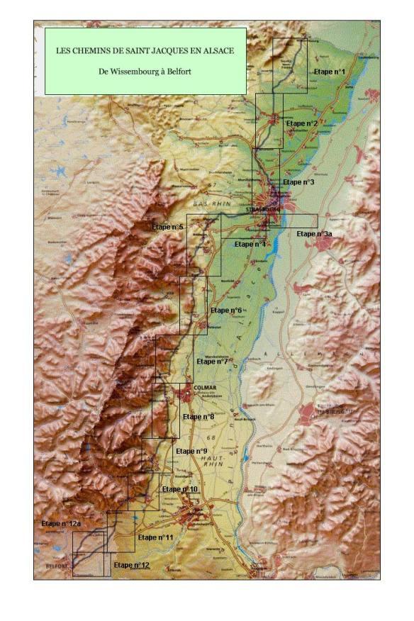 La carte des chemins jacquaires en Alsace. Source : site internet de l'Association des Amis de Saint-Jacques en Alsace