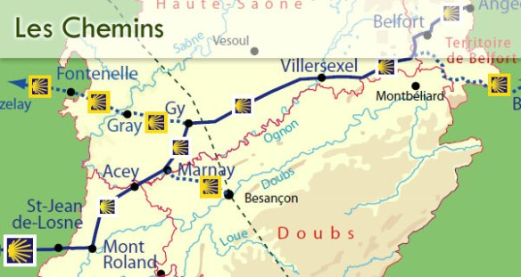 Les chemins en Franche-Comté. Source : site internet de Capture d'écran du site internet de l'association franc-comtoise du chemin de Compostelle
