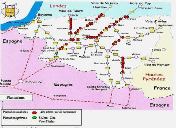 Carte des chemins de Saint-Jacques dans les Pyrénées-Atlantiques. Source : site internet de l'association des Capture d'écran du site internet de l'association des Amis des chemins de Saint Jacques des Pyrénées-Atlantiques