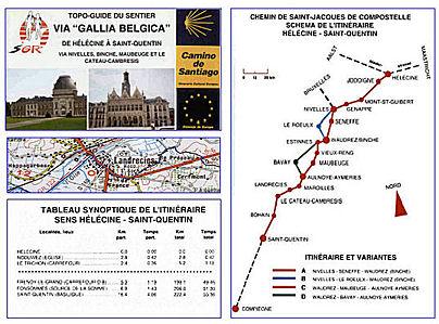 Carte de l'itinéraire de Hélécine à Saint-Quentin. Source : site internet de la Capture d'écran du site internet de la Confrérie des amis de Saint-Jacques à Compiègne