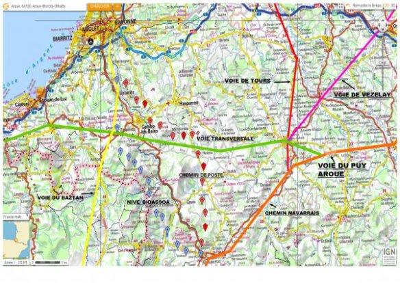 Carte de la Voie Transversale dans les Pyrénées-Atlantiques. Source : site internet de l'association des Amis des chemins de Saint Jacques des Pyrénées-Atlantiques