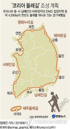 Le parcours du Tour de la Corée en 4500 kilomètres...