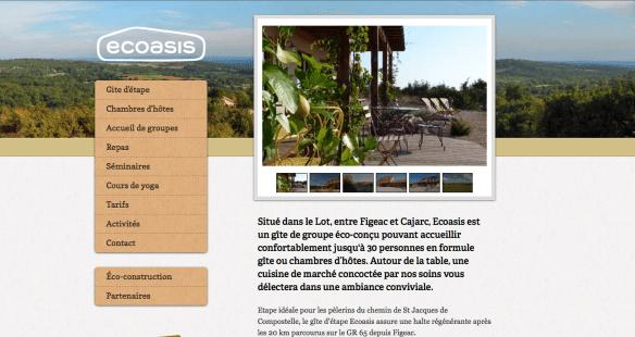 Capture d'écran du site internet du gîte Ecoasis