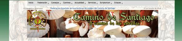 Capture d'écran du site internet de la Fédération Espagnole des associations jacquaires