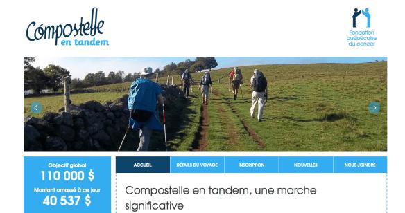 """Capture d'écran du site internet """"Compostelle en tandem"""" http://www.compostelleentandem.com/compostelle-en-tandem-54/accueil"""