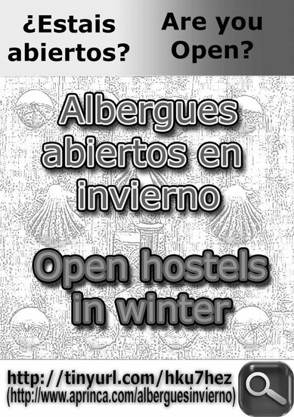 Affiche du site délivrant une liste réactualisée des auberges ouvertes en saison hivernale sur le Camino francés.