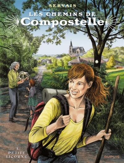 """Couverture de la bande-dessinée """"Les chemins de Compostelle (Tome 1), «La petite licorne» de Jean-Claude Servais aux Editions Dupuis."""