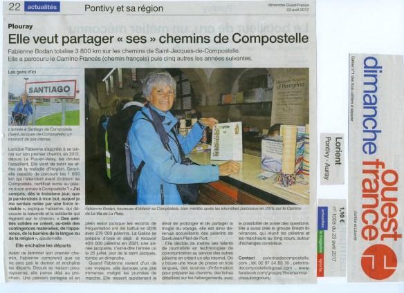 Fabienne Bodan Compostelle Article Ouest-France 23.04.2017