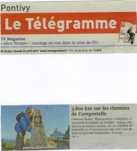 Fabienne Bodan Compostelle Article Télégramme 22.04.2017 (1)