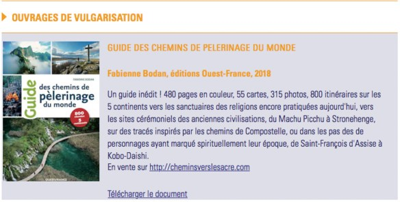 Le guide des chemins de pèlerinage du monde dans la médiathèque du site de l'ACIR