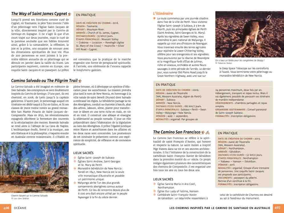 Guide chemins de pèlerinage du monde (exemple page Océanie)