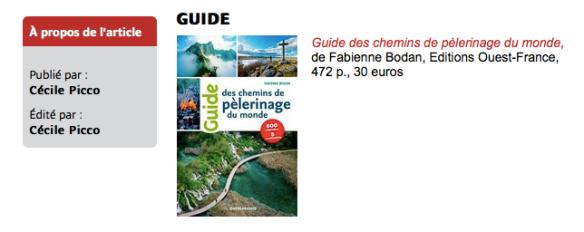 Guide des chemins de pèlerinage du monde dans la bibliothèque des pèlerins 12.2018