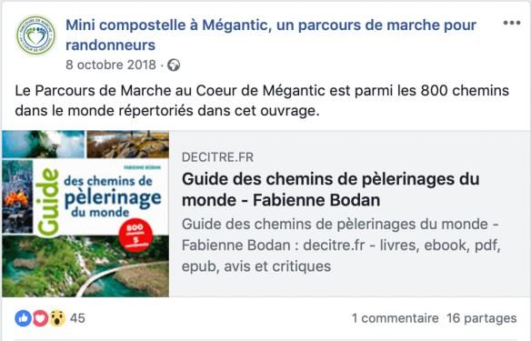 Parcours au coeur du Mégantic - Québec dans le Guide des chemins de pèlerinage du monde