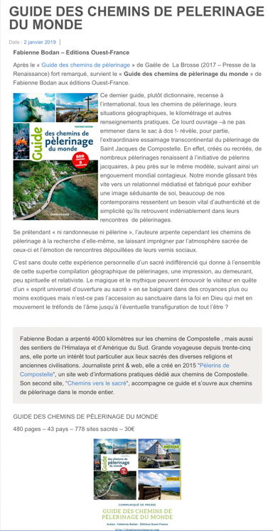 Recension du Guide des chemins de pèlerinage du monde sur le site Webcompostela (2.01.2019)