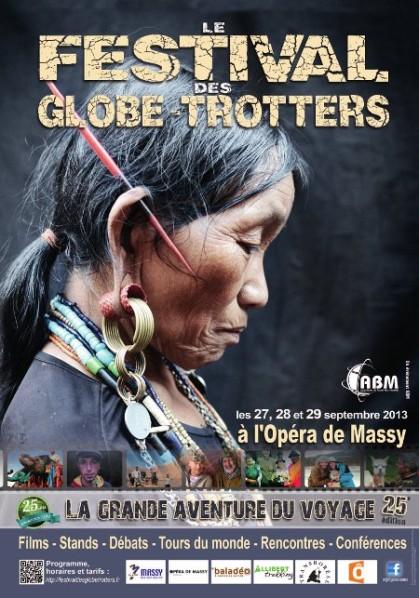 Affiche de la 25e édition du Festival des Globe-Trotters organisé par ABM à l'Opéra de Massy. Une soirée (le vendredi) et deux journées complètes de projections, stands et conférences de voyageurs.