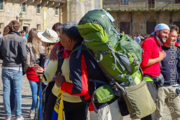 Une arrivée toujours inoubliable sur la praza do Obradoiro, Santiago de Compostela. © Fabienne Bodan