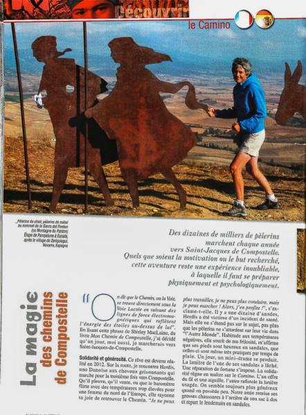 """Article """"La magie des chemins (de Compostelle)"""" rédigé pour le N°148 de Globe-Trotters Magazine (page 1/4 de l'article)."""
