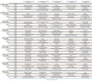 World Premieres Film Festival Schedule