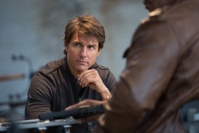 Left to right: Tom Cruise plays Ethan Hunt and Ving Rhames plays Luther Stickell in Mission: Impossible – Rogue Nation from Paramount Pictures and Skydance Productions