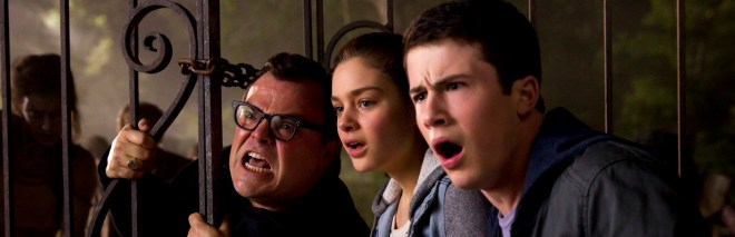 L-r, Jack Black, Odeya Rush and Dylan Minnette star in Columbia Pictures'