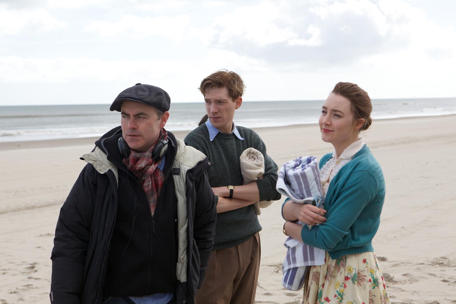 Director John Crowley, Domhnall Gleeson, and Saoirse Ronan on th