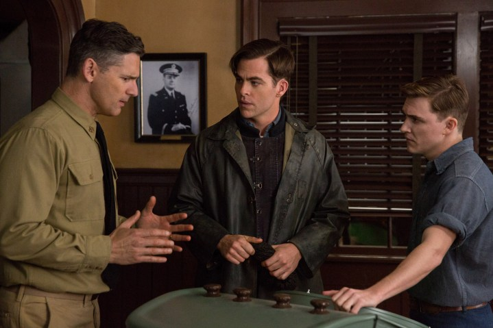 Eric Bana is Warrant Officer Daniel Cluff, Chris PIne is Bernie Webber and Kyle Gallner is Andy Fitzgerald in Disney's THE FINEST HOURS, the heroic action-thriller based on the extraordinary true story of the most daring rescue in the history of the Coast Guard.
